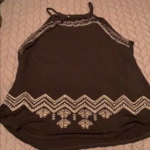 Black embroidered front tank top